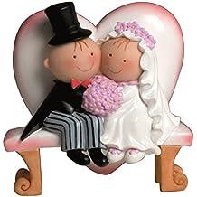 Mopec Y460 - Figura de pastel pareja de novios Pit & Pita en un banco, 15,5 cm