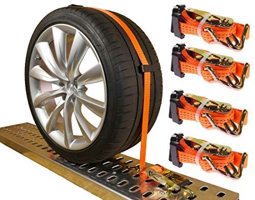 INDUSTRIE PLANET 4 x Spanngurte Autotransport 3000 daN 2,5m 35 mm Zurrgurte Reifengurt PKW Radsicherungsgurt Auto Transport - Industrie Schieben