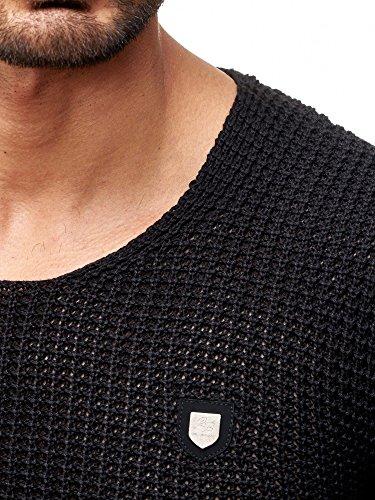 Redbridge Herren Uni Strick Pullover grober Strickpullover einfarbig mit tiefem Rundhals Ausschnitt Slim Fit körperbetont anliegend Schwarz