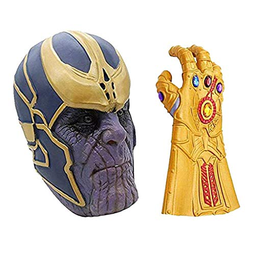 SSRS Thanos Maske Avengers 3: Unendlichkeits-Krieg Cosplay Haube Held Latex Maske Halloween Horror Infinity Gauntlet Glove (Color : Mask+Glove Set)