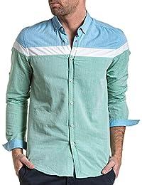 BLZ jeans - Chemise homme été tricolore bleu et vert