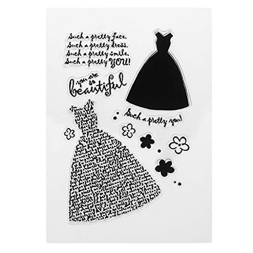 Qiman Beautiful Dress Transparenter Silikon Stempel,DIY Silikon Klar Stempel Blatt Scrapbooking Album Foto DIY Weihnachten Valentinstag Thanksgiving Geschenke