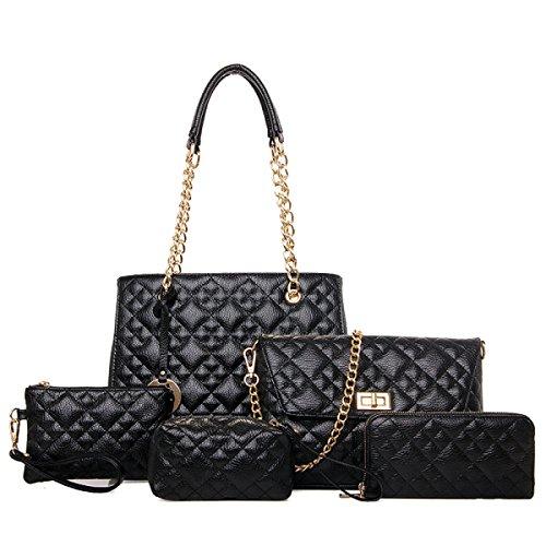 Frauen-PU-Leder-Handtaschen-neue Fünfteilige Sätze Gesteppte Ketten-Beutel-Art- Und Weiseschulter-Kurier-Beutel-Mutter-Paket,Black-OneSize (Handtasche Neue Gesteppte)