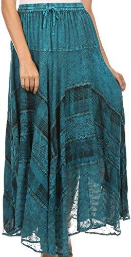 Sakkas Hailes Long Tall Large Argent brodé Batik réglable Jupe à taille Turquoise