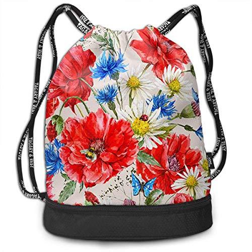 Bolsas de cuerdas,Bolsas de gimnasia,Mochilas tipo Casual, Funny Dance Gift Unisex Drawstring Fashion Beam Backpack Red Flower Print Backpack Travel Gym Tote Cosmetic Bag