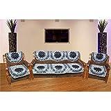LatestHomeStore Black Flower Designer Set of 5 Sofa Cover (Pack OF 10)