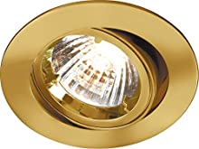 Knightsbridge IP20 230 V/12 V GU10/MR16 da incasso Tilt Twist and Lock in alluminio da incasso, Brass