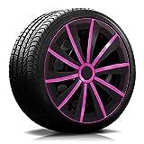 14 Zoll RKK13 Matt-Black Line Schwarz/Pink Radkappen/Radzierblenden 4 Stück