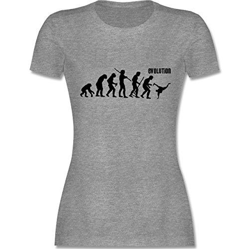 Evolution - Breakdance Evolution - tailliertes Premium T-Shirt mit Rundhalsausschnitt für Damen Grau Meliert