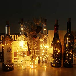 (12 pezzi) Luci per Bottiglia, kolpop Tappi LED a Batteria per Bottiglie, Filo di Rame Led Decorative Stringa Luci da Interni e Esterni per Festa, Giardino, Natalizie, Halloween, Matrimonio