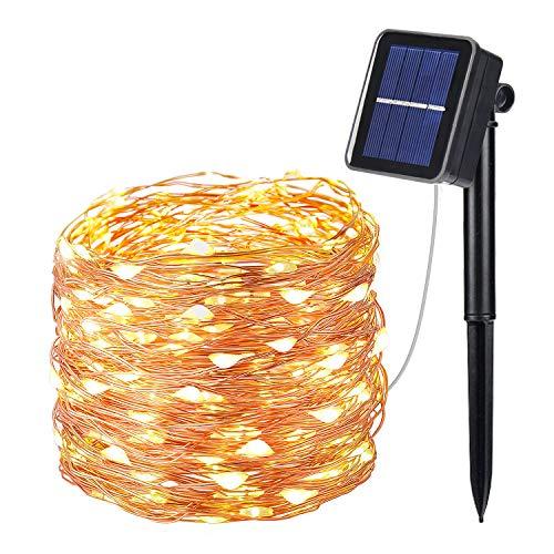 OxyLED Catene Luminosa Solare Esterno,10M 100 LED Luci Solari Esterno Catena Luminosa con 8 Modalità,IP65 Impermeabileluce Lucine da Esterno/Interno Decorative per Giardino,Natale,Cortile,Festa
