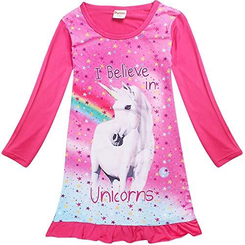Baby Kind Mädchen Langarm Einhorn Schlaf Rüschen Kleid Nachthemd Pyjamas (Rose, 6-7 Year)