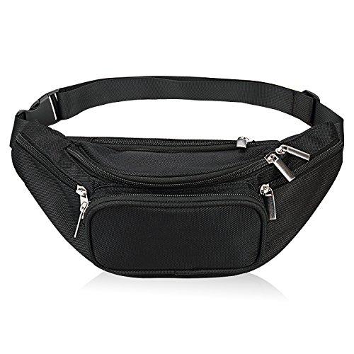 Fanny Pack 5-Reißverschluss Taschen Nylon Gürteltasche für Frauen Männer für Training Sport Reisen und Laufen (Portemonnaie Kleiner Hund)
