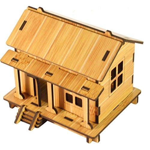 Ouneed® 3D Puzzle en Bois de Maison (Jaune)