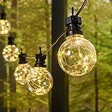 Catena luminosa di 10 lampadine vintage decorative con 100 led bianco caldo per uso interno ed esterno, adatta per feste in giardino, matrimonio e Natale