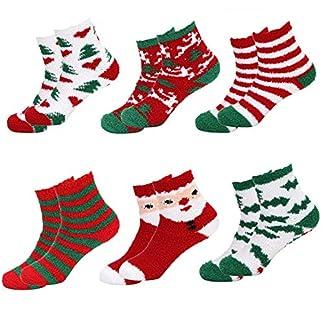 Folora 8 pares de calcetines navideños de Navidad coloridos exquisitos impresos festivos calcetines acogedores para adultos