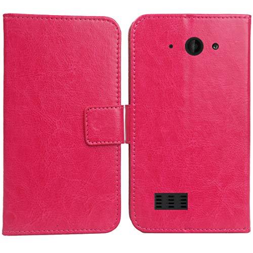Gukas PU Leder Tasche Hülle Für Archos Saphir 50X 5 Handy Flip Design Brieftasche mit Karten Slots Schutz Protektiv Case Cover Etui Skin (Farbe: Rosa)