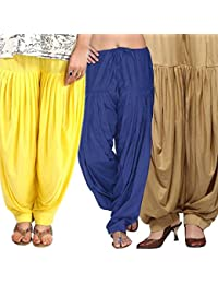 Pixie Women's Patiala Salwar Combo Pack Of 3 (Yellow, Blue And Beige)