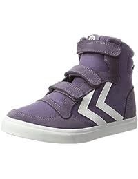 Hummel Kinder Sneaker Hoch Unisex - Stadil Canvas Jr High – Turnschuh Leinen/Wildleder - Freizeitschuh DIV. Farben - Schuh mit Klettverschluss