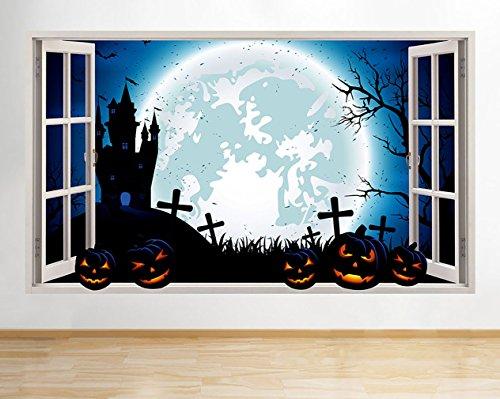 lloween Haunted Friedhof Fenster Wand Aufkleber 3D Kunst Aufkleber Vinyl Raum ()