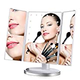 Miroir de maquillage éclairé Keynice Lumineux à LED de magnifique 1X / 2X / 3X Miroir de Bureau 180 ° réglable ajustable pour le Maquillage Charge USB Saint Valentin Noël-Blanc …