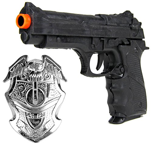 Pistole Polizeimarke Kinder Set Kostüm Police Waffe Marke Marke Swat FBI