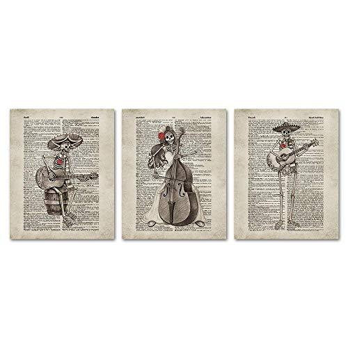 Sumgar Day of The Dead Vintage Wörterbuch-Seite Kunstdrucke Sugar Skelett Musik Party ungerahmt Poster Halloween Dekoration Geschenke Set von 3,8 x 10 Antik Halloween02