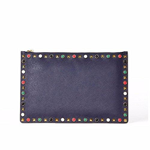 cuoio rivet clutch bag, busta bag30 * 20 cm,black blu marina