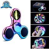 Quimat Fidget Spinner Hand Spinner, LED Licht AN Finger Spielzeug EDC 18 Modi Blinken Perfekt für Kind Erwachsene hilft Anti-Angst Konzentration (Farbig/Regenbogen)