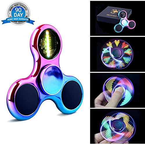 Fidget  Spinner Hand Spinner Quimat LED Light UP Finger Toys EDC 18 Modes Flashing Perfect for Child Adult Helps Anti-Anxiety Focusing Boredom Stress Reducer High Speed (Colorful/Rainbow)