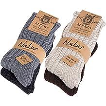 Brubaker 4 pares de calcetines de pura lana de alpaca naturales y grises