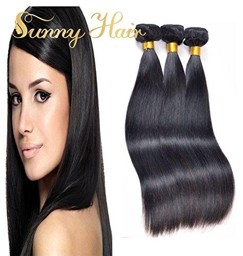 Sunny 3 Bundles 7A Cheveux Lisse Bresilien Tissage 100% Vierge Cheveux Naturels Mixte Longueur 16,18,20 Pouces/40,45,50cm Extension de Cheveux Humains