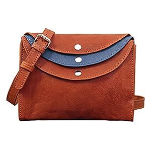 PAUL MARIUS LA MINAUDIERE Marrón/Azul Bolso pequeño bandolera de cuero estilo vintage