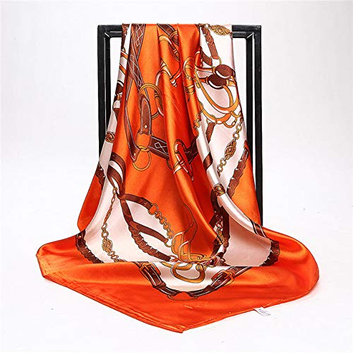 QYYDWJ Roten Seidenschal Frauen Sommer China Stil Satin Quadrat Schals Gedruckt Damen Marke Rayon Kopftuch Mode Schal Bandana 90 * 90 cm 90 X 90 cm GOL -