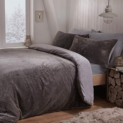 Sleepdown Waffle Teddy Fleece Reversible Bedding Set -Grey-Single Best Price and Cheapest