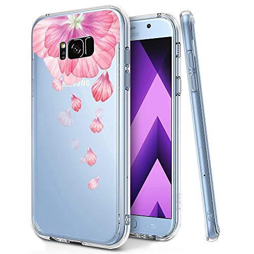 KeKeYM Blume Case für Samsung Galaxy Note 8 2017, Telefonhülle Ultradünnes Silikonmuster Rückenprotektor Weiche Haut, Kristallklar Gel Stoßfester, Slim Transparenter Schutz - Rosa Blütenblatt
