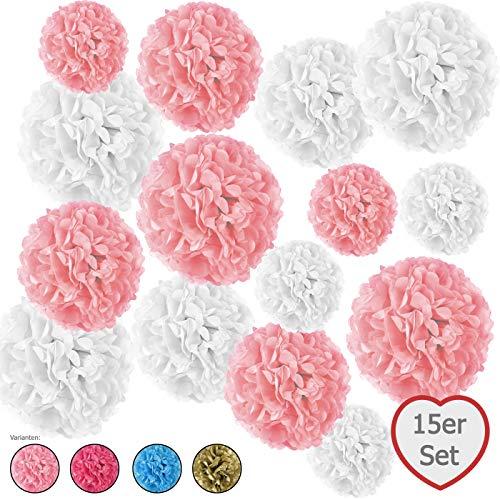 15er Set Seidenpapier Pompoms, inkl. Satinbänder (je 1.20m), inkl. Geschenkverpackung, mit deutscher Videobastelanleitung (zart rosa, weiß) - Rosa Bild Rosen