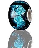 Andante-Stones 925 Sterling Silber Glas Bead Charm SEALIFE (Schwarz Cyan) Element Kugel für European Beads + Organzasäckchen