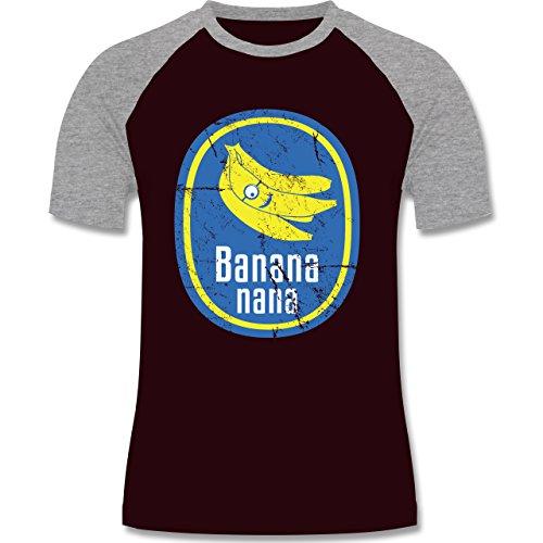 Comic Shirts - Banana nana Vintage - zweifarbiges Baseballshirt für Männer Burgundrot/Grau meliert