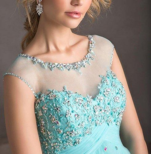 Carnivalprom Damen Abendkleider Kurz Elegant Rundhals Festkleid Perlstickerei Partykleider Minze