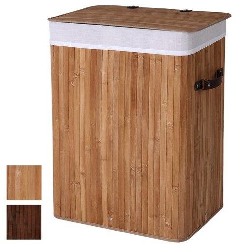 Jago Wäschekorb Bambus | Volumen 85L | Farbwahl | Eckig Wäschesack, Wäschesammler, Wäschebox, Wäschetonne