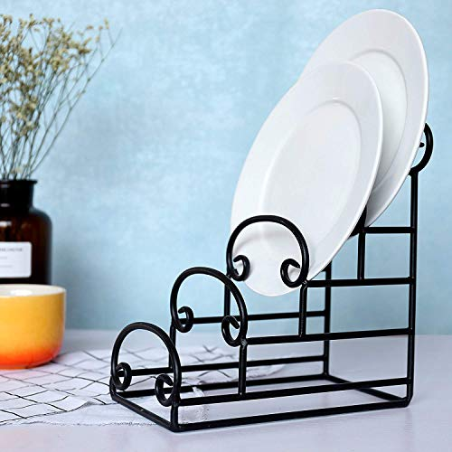 Kundi 4-Tier Vintage-Style Iron Plate Display Stand Dish Drying Rack, Kitchen and Dining, Dish, Plate and Crockery Holder