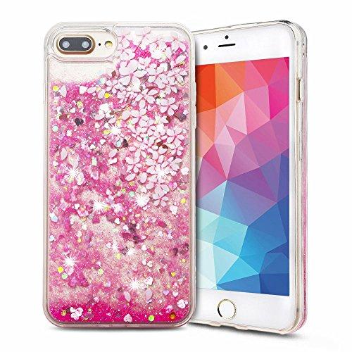 Cover iPhone 7 plus Custodia iPhone 7 plus Silicone Quicksand Anfire Morbido Flessibile Trasparente Gel TPU Case per Apple iPhone 7 plus (5.5 Pollici) Sabbie Mobili Cover Rosa Bling Glitter Cristallo Petalo