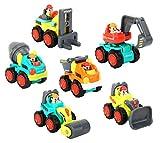 Zooawa Mini Auto Giocattoli, 6 Pezzi Giocattoli di Veicoli di Costruzione Camion per Bambini Bulldozer, Betoniera, Dumper, Carrello Elevatore, Escavatore e Rullo Compressore - Colorato