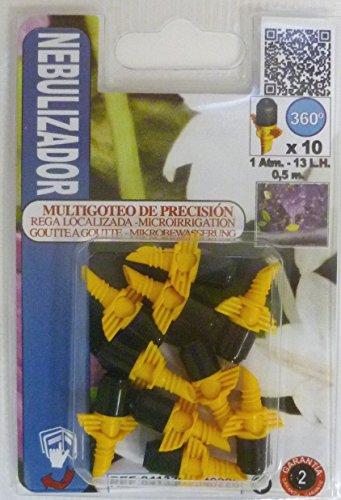 S&M 540226 Micro Nebulizador para riego por microaspersión 4 mm 360º-Blíster 10 Unidades, Amarillo/Negro...