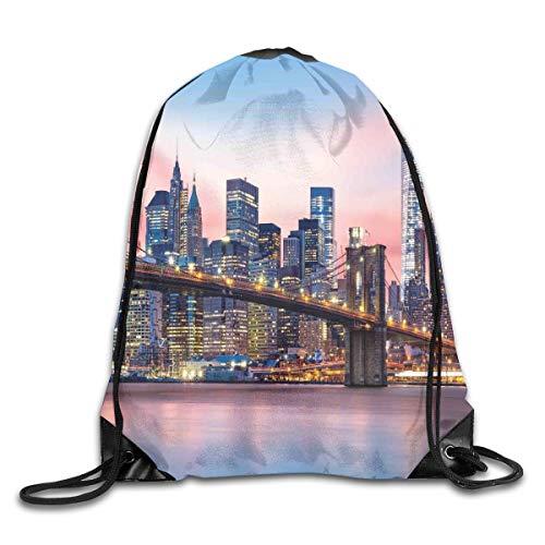 Lower Manhattan Skyline (New Shorts Brooklyn Bridge and Lower Manhattan Skyline Under Pink Sunrise Long Exposure Art Image Drawstring Backpack Rucksack Shoulder Bags Sport Gym Bag for Men and Women)