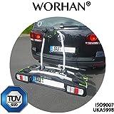 WORHAN ® Soporte Portabicicletas para Enganche de Remolque Bola Luces LED (para 2 bicicletas)