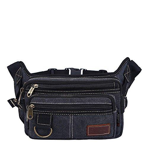 BUSL Wandern Hüfttaschen Herren-Outdoor-Freizeit-Leinwand Schulter Umhängetasche Brusttaschen B