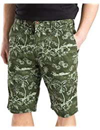 Hommes Chino Shorts Threadbare été F loral HawaiianPrint Pantalons En Coton Pur