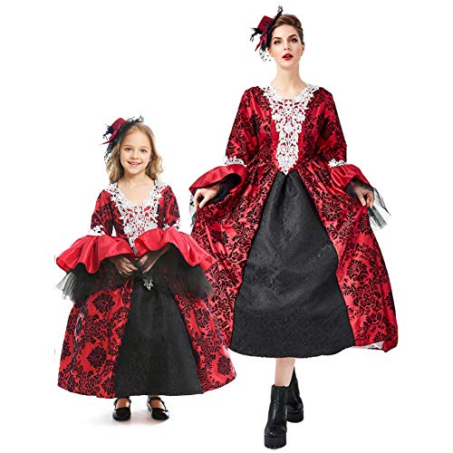 Mädchen Gothic Lolita Gericht Kleid Mittelalterlichen Viktorianischen Halloween Vampire Dress Up Retro Kostüm Party Kostüm Für Frauen Elternschaft Bekleidung (Viktorianisches Gothic Mädchen Kostüm Halloween)
